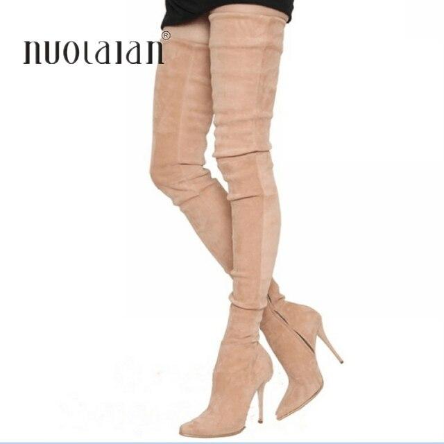 2018 ยี่ห้อยืด Suede หนังต้นขารองเท้าส้นสูงรองเท้าผู้หญิง Winter Boots รองเท้าส้นสูงเซ็กซี่กว่าเข่าบู๊ทส์หญิงรองเท้า
