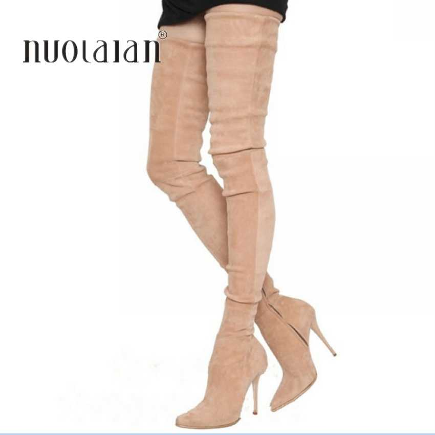 2019 ยี่ห้อยืด Suede หนังต้นขารองเท้าส้นสูงรองเท้าผู้หญิง Winter Boots รองเท้าส้นสูงเซ็กซี่กว่าเข่าบู๊ทส์หญิงรองเท้า