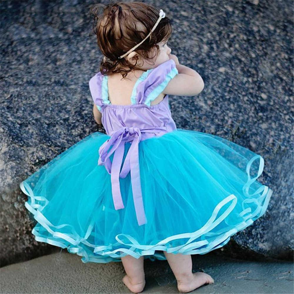 Летняя Одежда для маленьких девочек младенческой От 1 до 2 лет День рождения милые младенцы вуаль пачка пляж Маленькая Платье с русалочкой для малышей Бальные платья