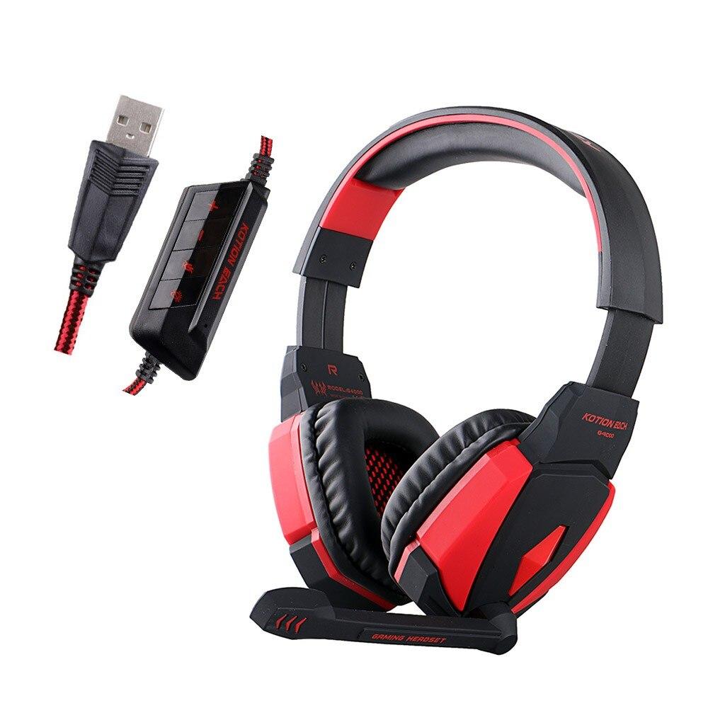2016 KOTION EACH G4000 USB Game Headphones Headband Gaming Headset with Mic LED Light for PC Laptop Game each g2200 gaming headphones vibration usb 7 1 surround stereo game headset computer headband with mic led light for pc gamer