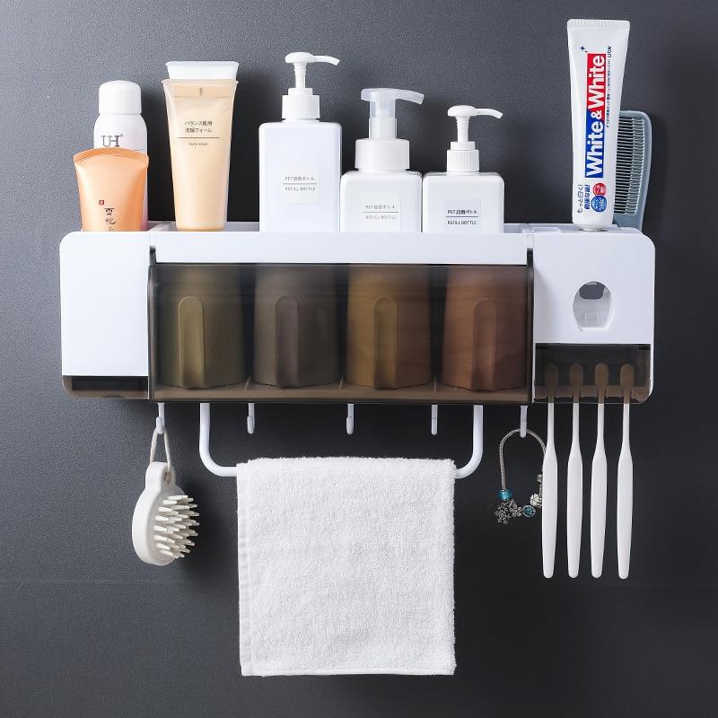 Suporte de Escova de Dentes Rack de Prateleira do Banheiro Escova de Dentes Rack de Armazenamento Casa Multifuncional Wall-mounted Caneca Conjunto Squeezers