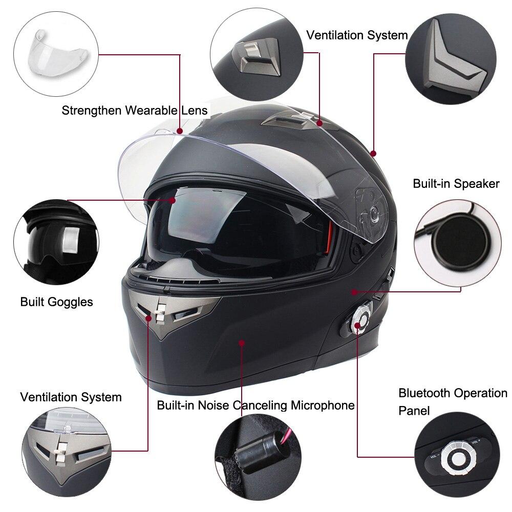 New BM2-S Motorbike Bluetooth Smart Helmet Motorcycle Integral/Half Face Built in FM Intercom Device Support 2 Riders Talk