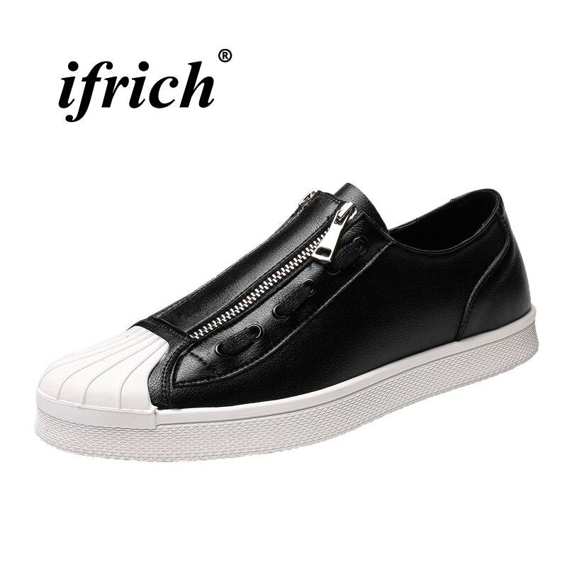 Jovens Masculina Casuais Borracha De Confortável Homens Branco Sneakers Sola Sapatos Caminhada Black Moda Preto Apartamentos Zipper white 2018 Mens Calçados T6dTx