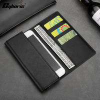 CYBORIS Top Quality Genuine Leather Cover Bag For Samsung IPhone Phone Bag Wallet With Card Holder