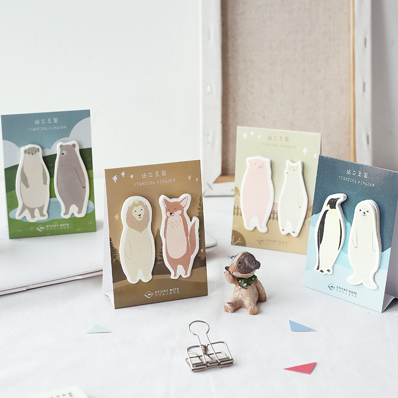 4 stücke Stehenden königreich sticky note Nette tier Pinguin Fuchs Lion memo pad aufkleber marker Schreibwaren Büro Schule liefert A6594