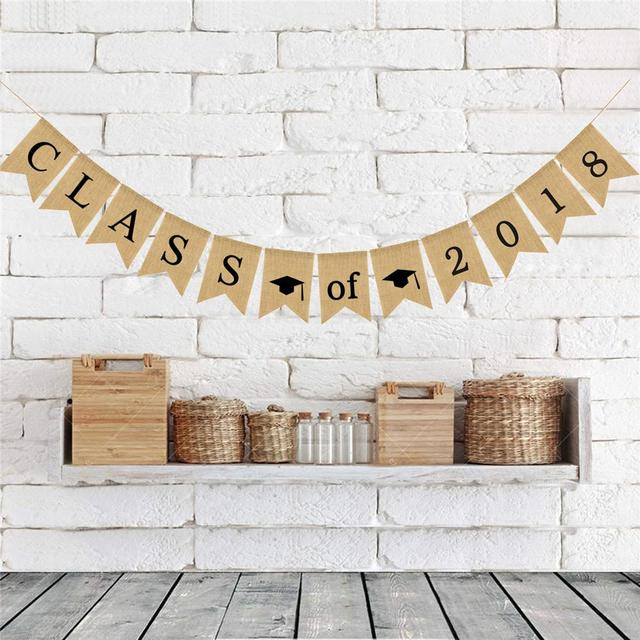 class of 2018 bunting banner congrats grad sign graduation party hanging garland linen forked tail graduation