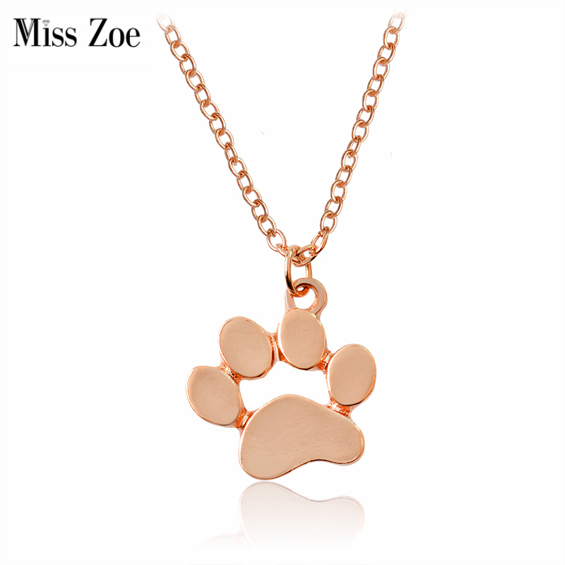 Miss Zoe Mini Hollow Dog Paw Claw Pendant Necklaces Gold Silver Rose gold Simple Pet Dog Animal Jewelry Gift for Dog Owners