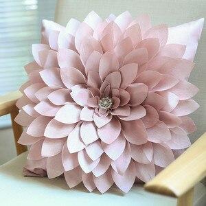Funda de cojín con flores de diamante hecha a mano en 3D con decoración interior para el hogar, funda decorativa para cojín de color blanco marfil rosa