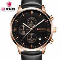 Mens Watches Top Brand Luxury CHENXI Men Military Sport Luminous Wristwatch Chronograph Leather Quartz Watch Relogio