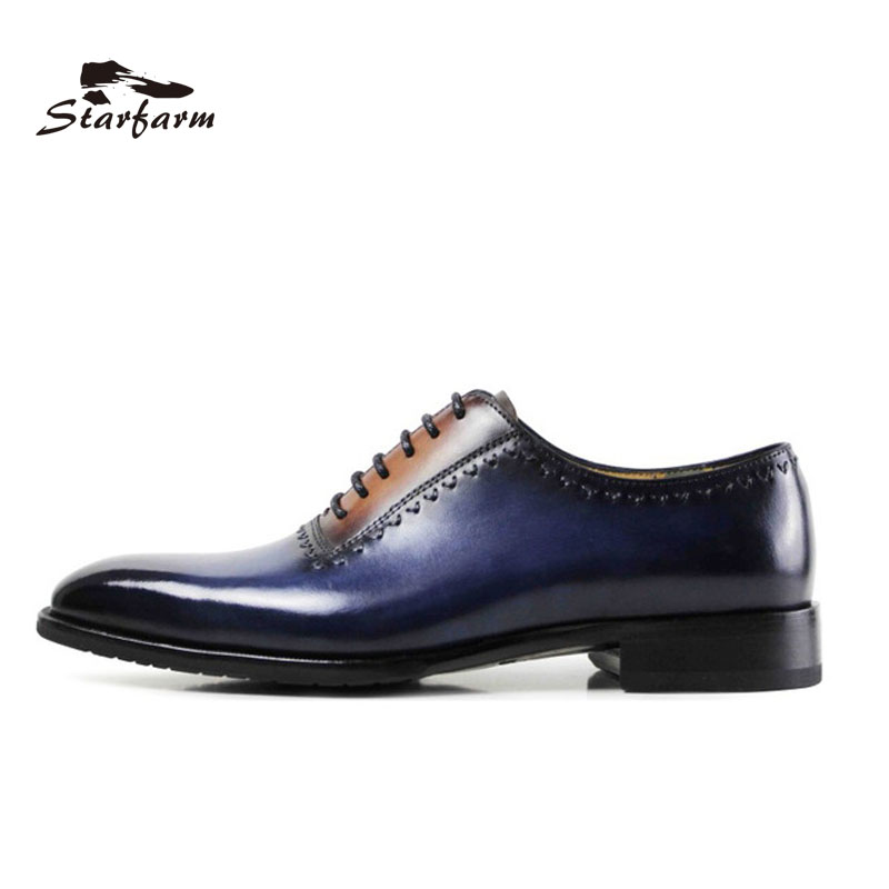 Фото STARFARM Goodyear Custom Made Shoes Men Hand Made Oxford Genuine Full Grain Cow Leather Formal Dress Shoes Wipe Color Blue Brown