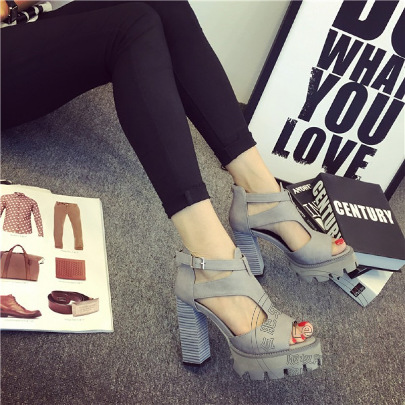 Pu Spring Autumn Zip Female Buckle T Strap Cement Small Size Soft Leather Plateau Heels Shoes
