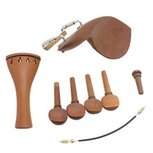 8 Pack 4/4 Violin Chin Rest Chinrest Jujube Wood with Tuning Peg Tailpiece Tailgut Endpin Violin Accessory Kit