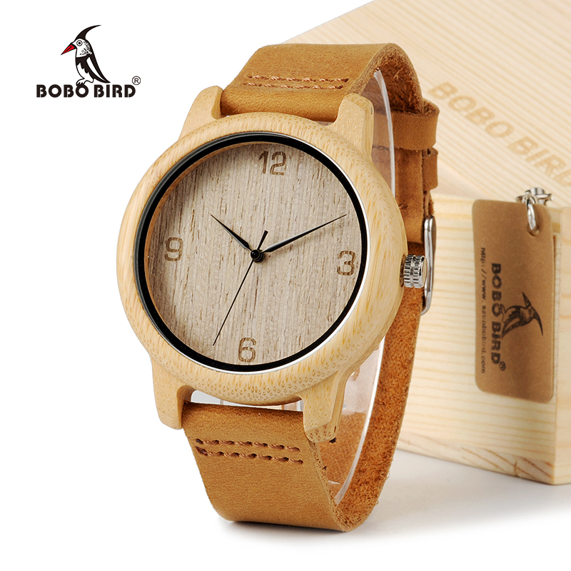 BOBO BIRD L09 Bamboo Wooden Men Wristwatch with Brown Cowhide Leather Strap Japanese Quartz Movement Casual Watches With Box bobo bird men dress bamboo watches luxury men s top brand designer quartz watch with japanese movement bamboo strap for gift