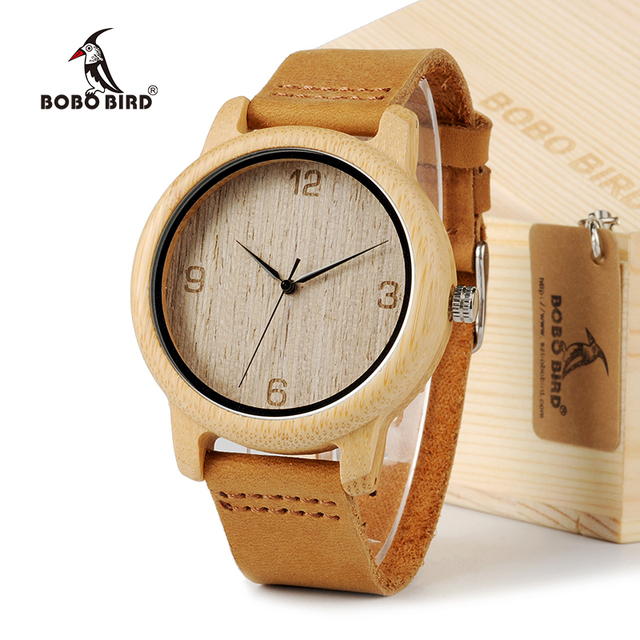 BOBO BIRD L09 Bamboo Wooden Men Wristwatch with Brown Cowhide Leather Strap Japa