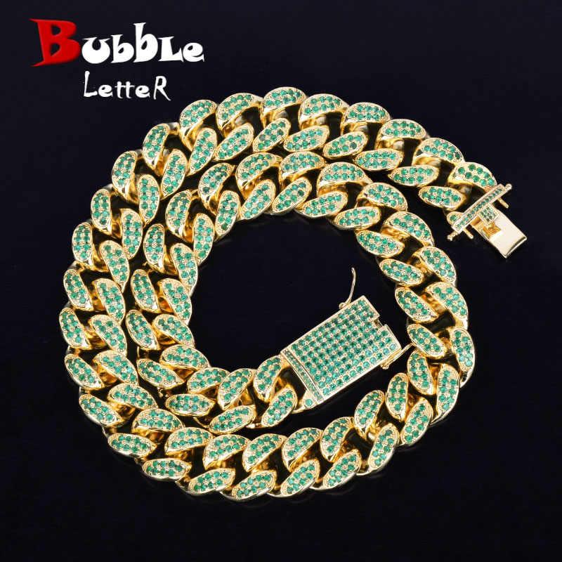 """20 มม. สีเขียว Zircon Miami Cuban Chain สร้อยคอ Choker Bling Bling Hip hop ผู้ชายเครื่องประดับ Gold Silver Link 16 """"18"""" 20"""""""