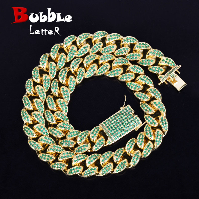 "20mm Heavy Green Color Zircon Miami Cuban Chain Necklace Choker Bling Bling Hip hop Men Jewelry Link 16"" 18"" 20"