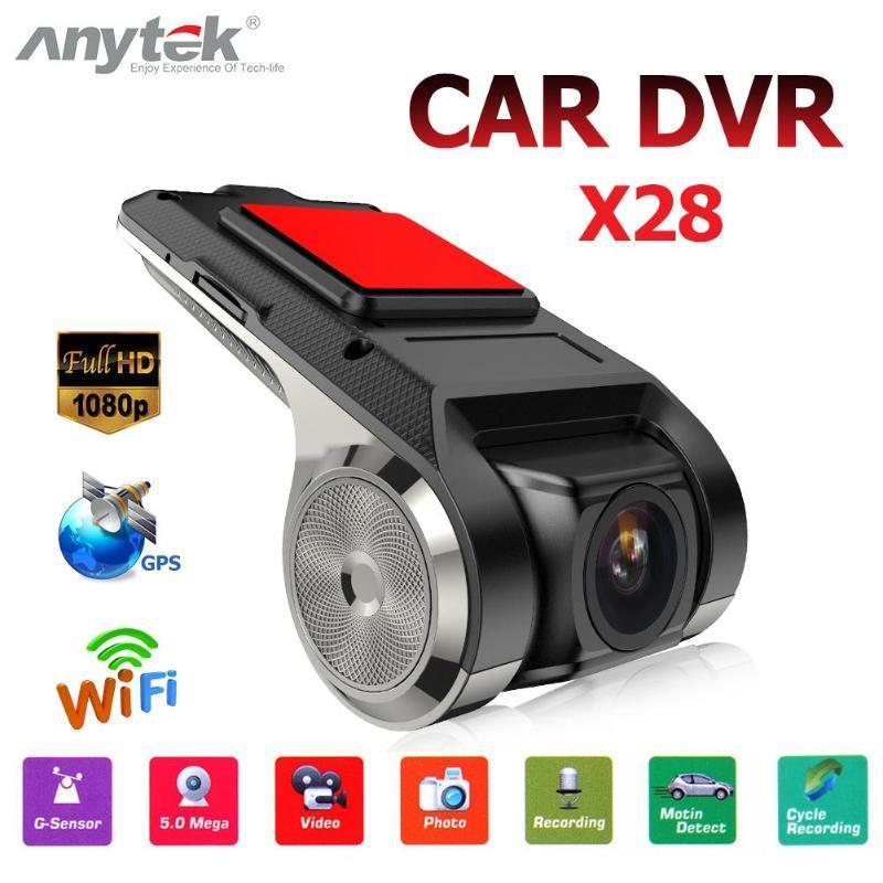 Anytek x28 carro dvr câmera completa 2mp frente hd 1080 p wifi g-sensor adas gps gravador automático de vídeo câmera traço lente grande angular carro dvr