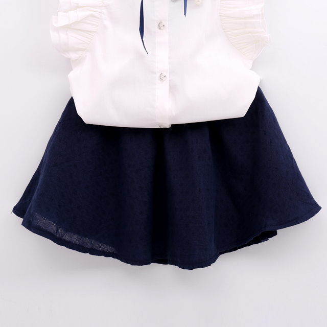 Girls' Cute Cotton Shirt with Skirt