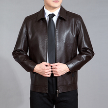 Male Leather clothing 2017 men's clothing turn-down collar short design casual leather jacket spring and autumn