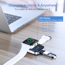 Key chain Wireless Charger For Apple i Watch Series 2 3 4 950 mAH LED Power Bank Dock Outdoor portable Wireless Charger