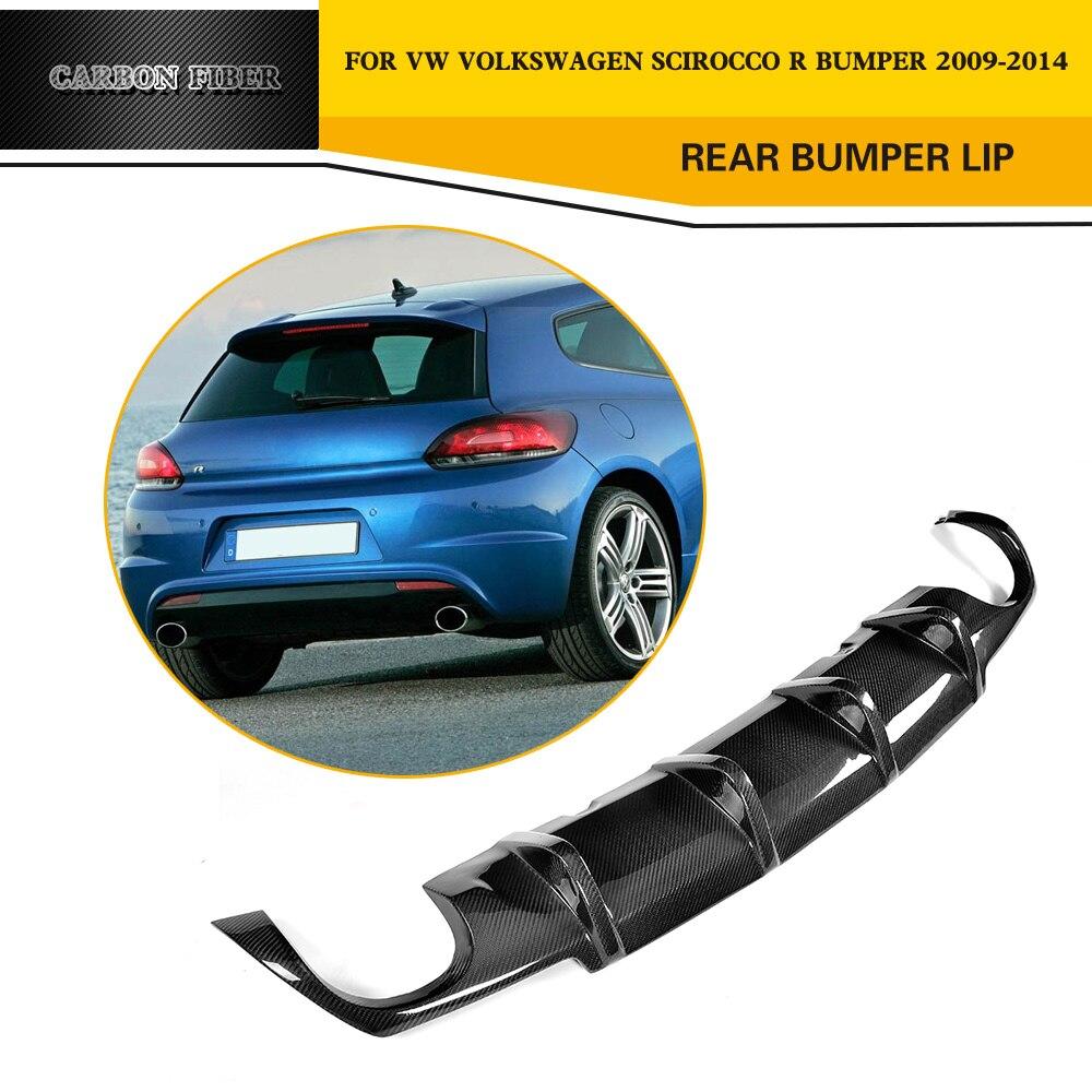 Car Styling Carbon fiber Car Rear Diffuser Lip Spoiler for VW Scirocco R bumper 2009 2014