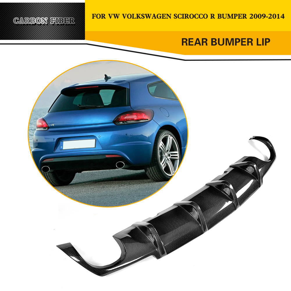 Estilo do carro De fibra de Carbono Difusor Traseiro Do Carro Lip Spoiler para VW Scirocco R pára 2009-2014