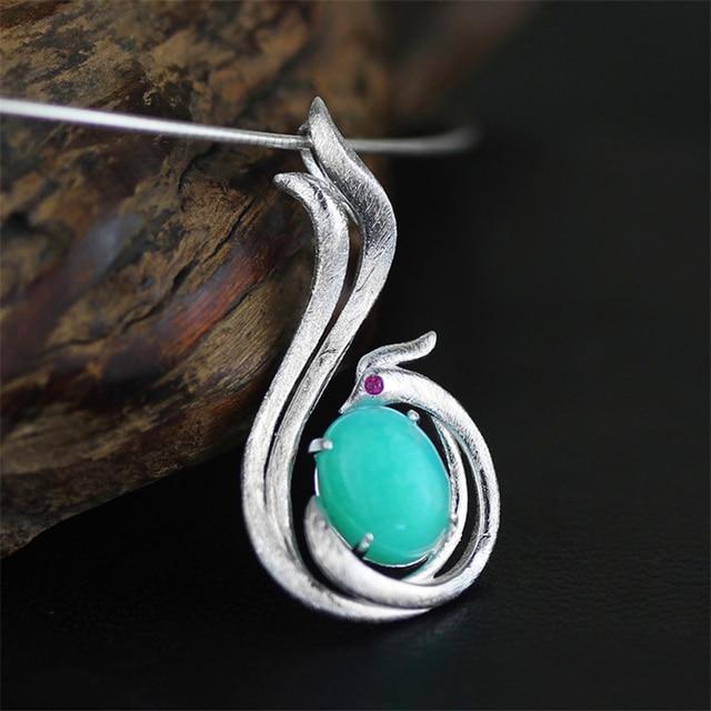 Venda de afastamento Projeto Original Elegante Phoenix Pingente Amazonita Pedra Real 925-Sterling-Silver Moda Artesanal Mulheres Jóias