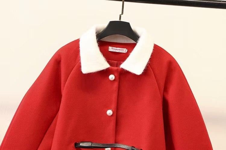 Collar down A Poitrine Kkfy2860 ligne Taille Automne Plus Noir Hiver Laine Plaid Perles Survêtement Femmes Pour Unique rouge La Turn Manteau zxnS80qw