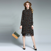 2018 Spring New Plus Size Loose Chiffon Dresses Printed Lace Long Sleeve Stand Neck High Waist
