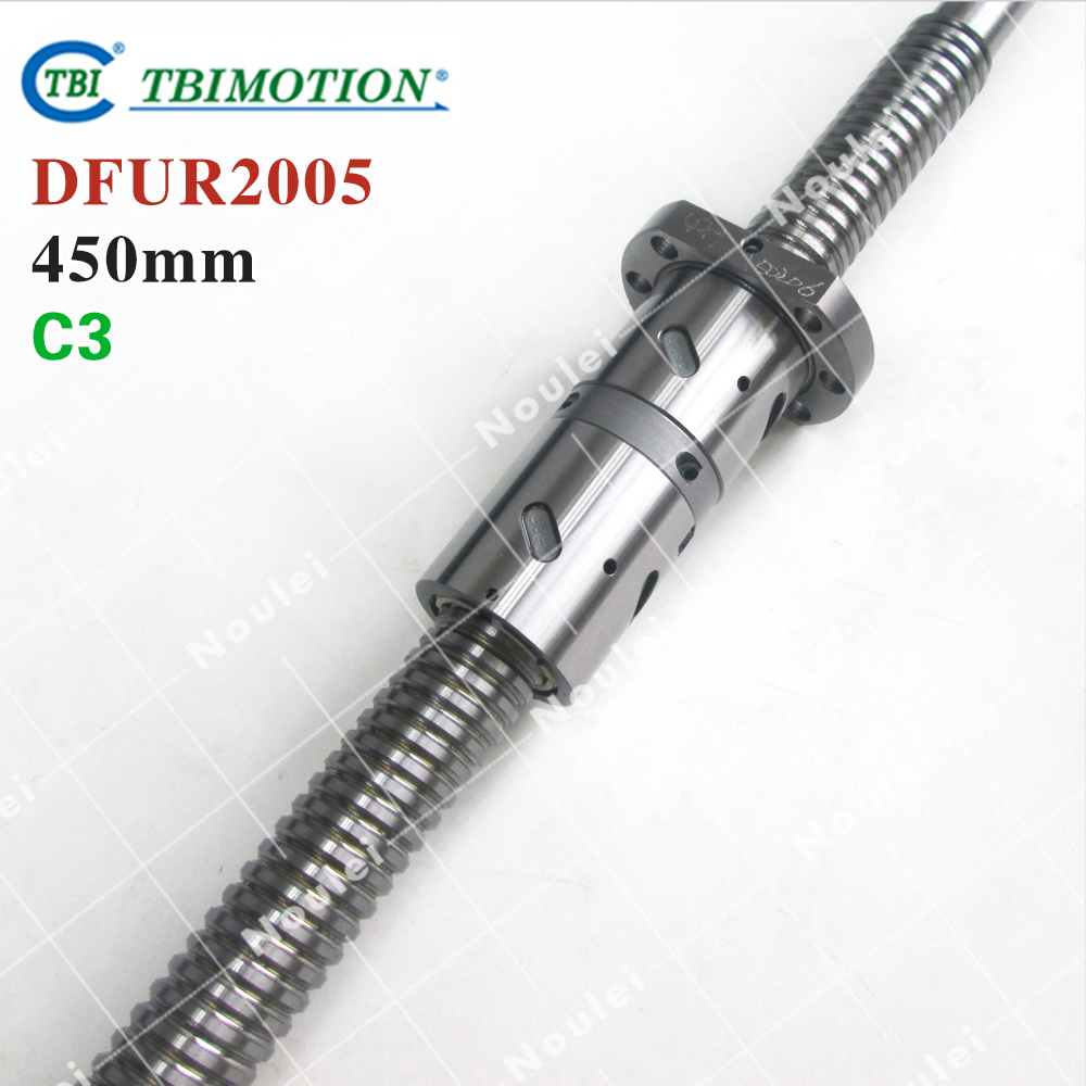 TBI 2005 C3 450mm ball screw 5mm lead with DFU 2005 ballnut + end machined for CNC diy kit DFU set tbi 2510 c3 620mm ball screw 10mm lead with dfu2510 ballnut end machined for cnc diy kit dfu set