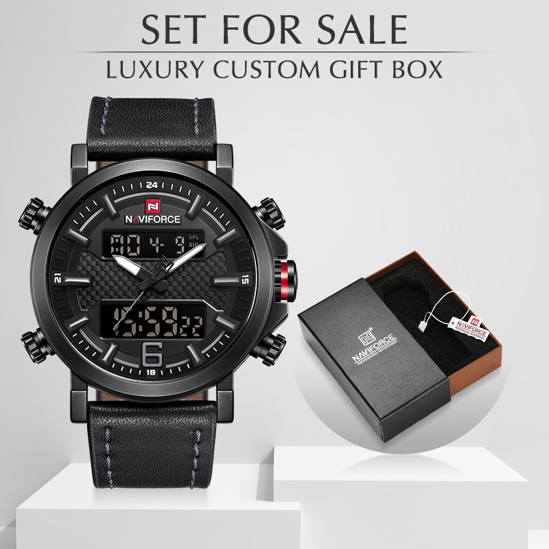 NAVIFORCE Men's Watches Quartz Sports Clock Luxury Men Watch With Box Set For Sale Male Leather Waterproof Military Wrist Watch