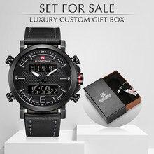 NAVIFORCE-montre de sport à Quartz pour hommes, de luxe, avec boîte, étanche, bracelet en cuir, pour hommes, vente