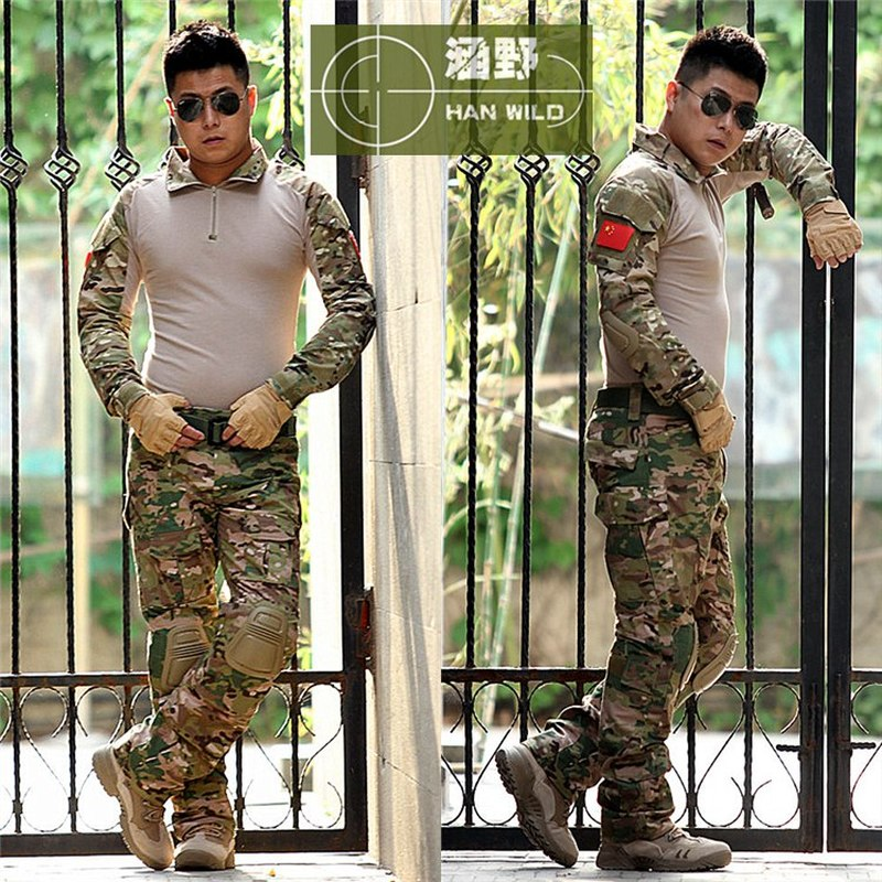 Multicam Tactical military uniform clothing army combat uniform tactical pants with knee pads hunting clothes tactical military uniform clothing army military combat uniform tactical pants with knee pads camouflage hunting clothes
