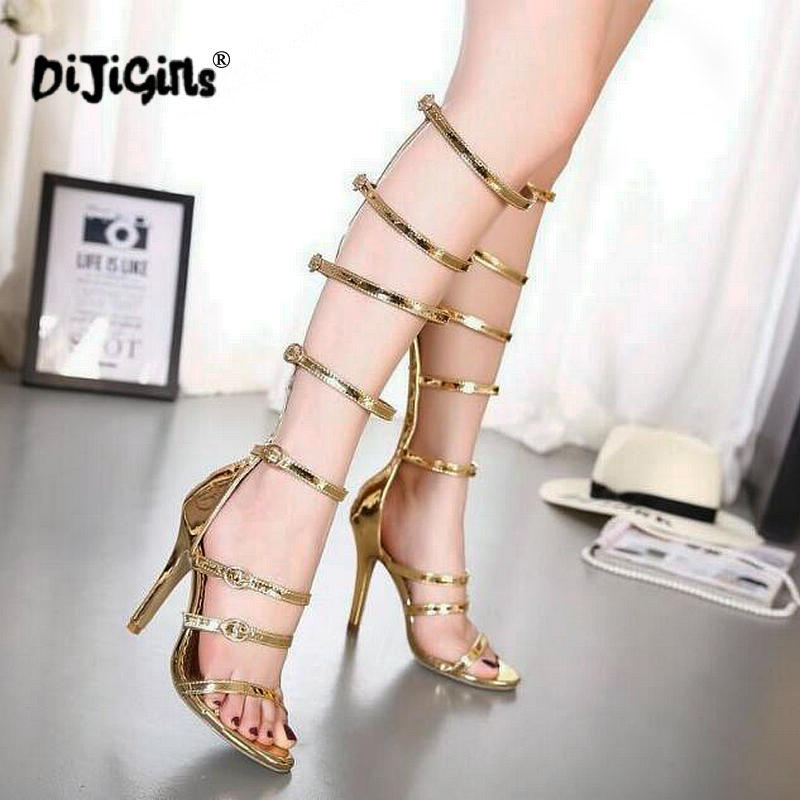 DIJIGIRLS Sandals Boots Clubwear Party-Shoes High-Heeled Cool Gold Gladiator Sexy Knee-High