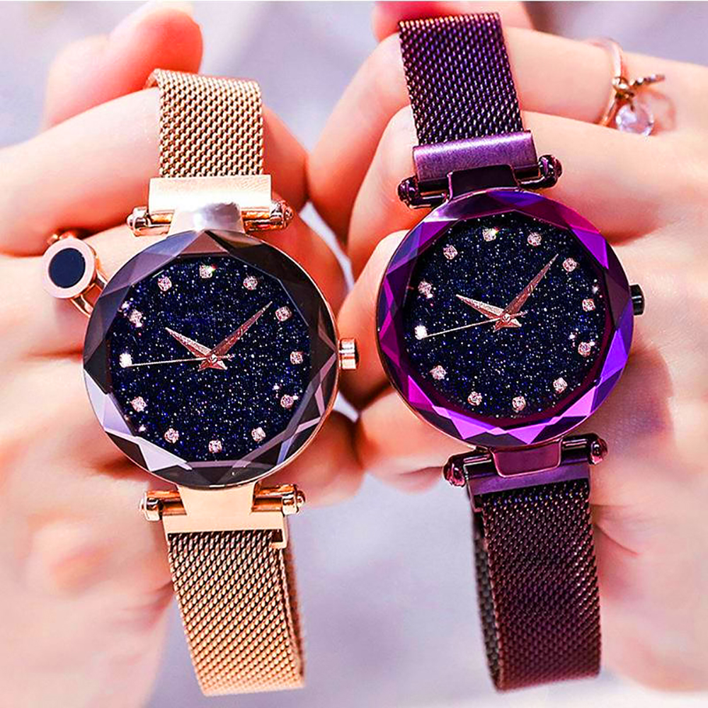 Stary Sky Women's Luxury Watch Fashion Diamond Quartz WristWatch Female Magnetic Starry Simple Casual Ladies Clock Gift