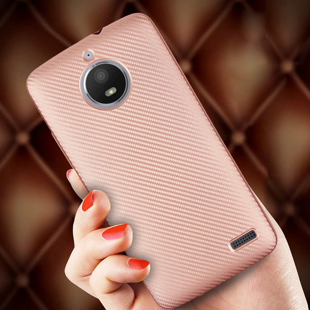 HATOLY For Fundas <font><b>Motorola</b></font> Moto <font><b>E4</b></font> Case Ultra-thin Soft TPU Carbon Fiber Back Cover for <font><b>Motorola</b></font> Moto <font><b>E4</b></font> <font><b>XT1762</b></font> XT1772 image