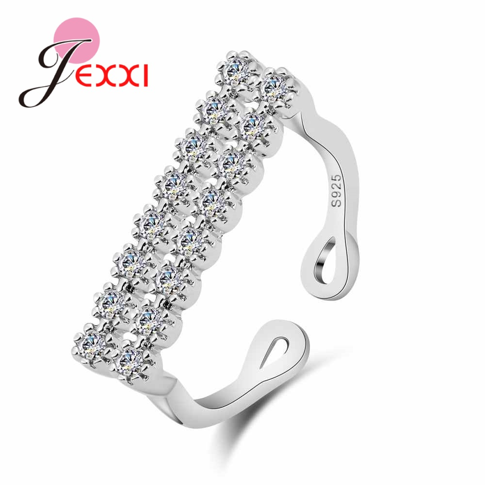 JEXXI Original 925 Sterling Silver Open Rings For Women Fashion Clear Cubic Zirconia Wedding Party Finger Ring Engagement Ring