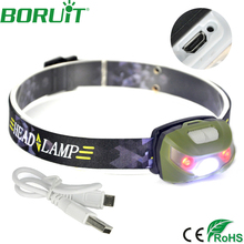 BORUiT XPE 3 LED Headlamp Flashlight 5 Mode Fishing Head Torch Light Rechargeable Head Lamp Camping Hunting Headlight by Battery