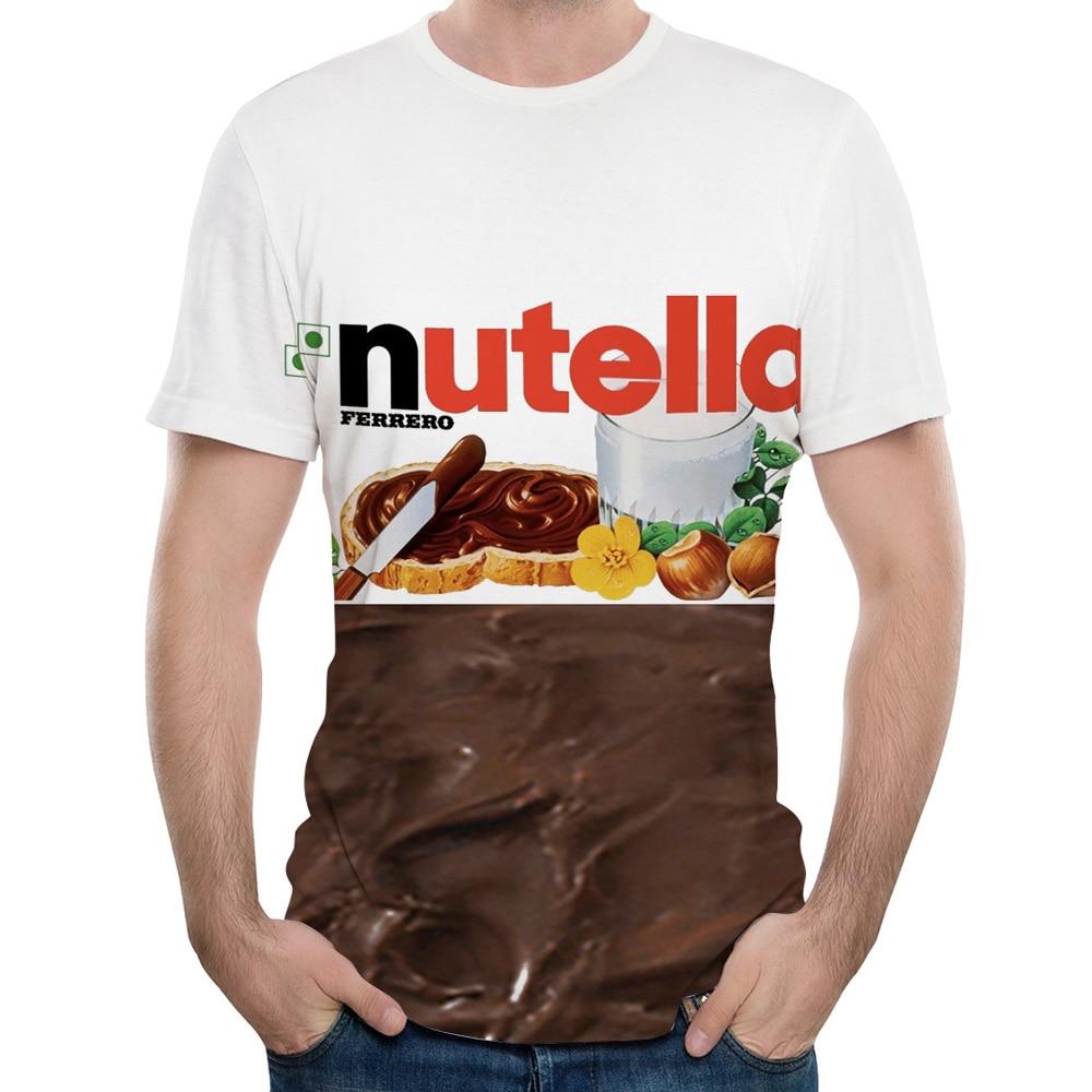 Verão moda feminina/men 3d t camisa nutella spoof diversão lifelike comida molho de chocolate harajuku comida camiseta dos homens frete grátis