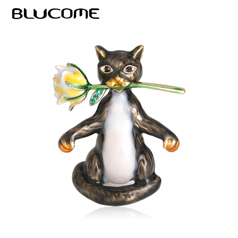 Blucome Lovely Enamel Cats With Flower Brooches For Women Kids Gift Fashion Gentleman Animal Brooch Bouquet Collar Pins Jewelry
