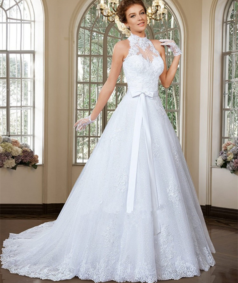 2015 Elegant High Neck A Line Bridal Dresses 2 Piece