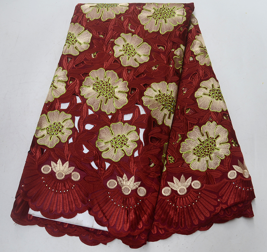 Wine Red High Quality Embroidery 100% Swiss cotton French Nigeria embroidered Rhinestones Lace Material For Party dress