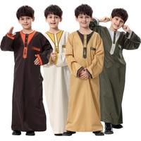 Islamic Mens Middle East Teenage Robe Clothes Muslim Thobe Kids Abaya Embroidery Children Jubba Thobe Loose