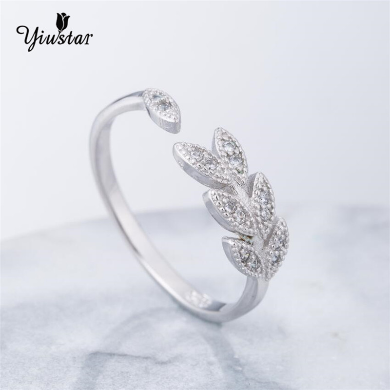 simple fashion forefinger silver sterling rings female small adjustable new fresh leaf jewelry ring