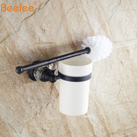 Beelee Wall Mounted Brass Toilet Brush Holders Ceramic Cup Durable Type BA5204B