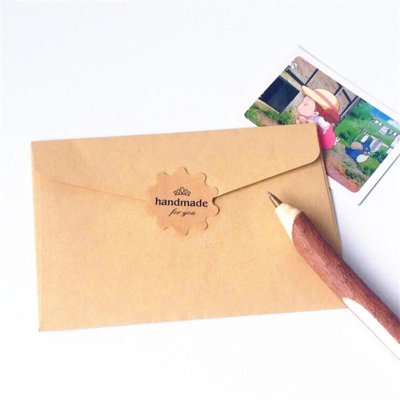 "Купить с кэшбэком 100pcs/lot kraft ""Handmade for you"" paper seal sticker DIY decorative gifts label adhesive stikcy for baking products"