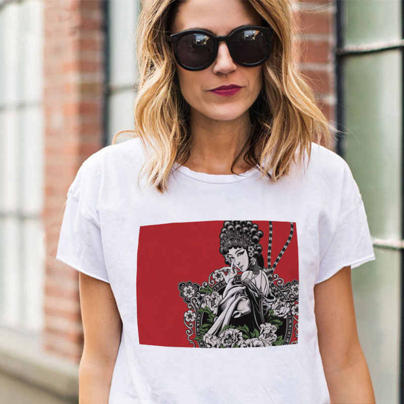 2019 New Summer New Gothic Aesthetic Harajuku Streetwear Female T-shirt Chinese Peking Opera Vintage T Shirt Woman
