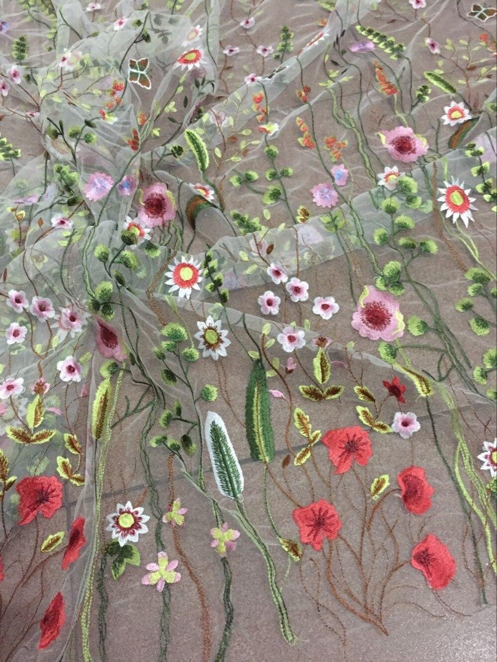 (5 yards/pc) magnifique fleur brodé africain net dentelle LJY 5409 pour robe de mariée-in Dentelle from Maison & Animalerie    1
