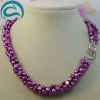 Unique Pearls Jewellery Store 3 Rows AA 7 8MM Baroque Freshwater Pearl Necklace Red Purple Real