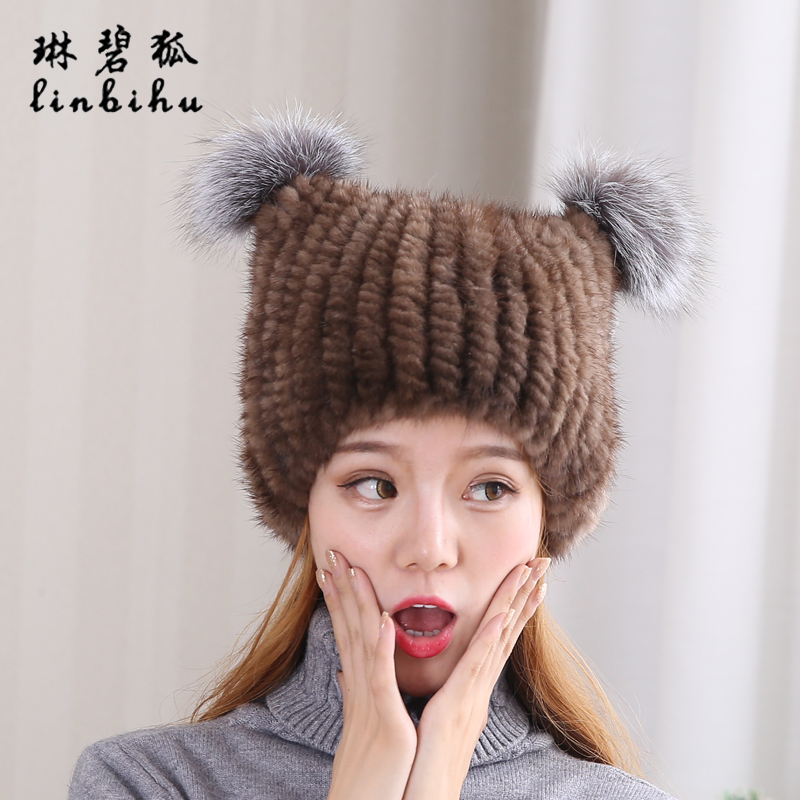 2a136acd7 Lovely Real Mink Fur Hat For Women Winter Knitted Mink Fur Beanies Cap with  Fox Fur Pom Poms 2018 Brand New Thick Female Cap